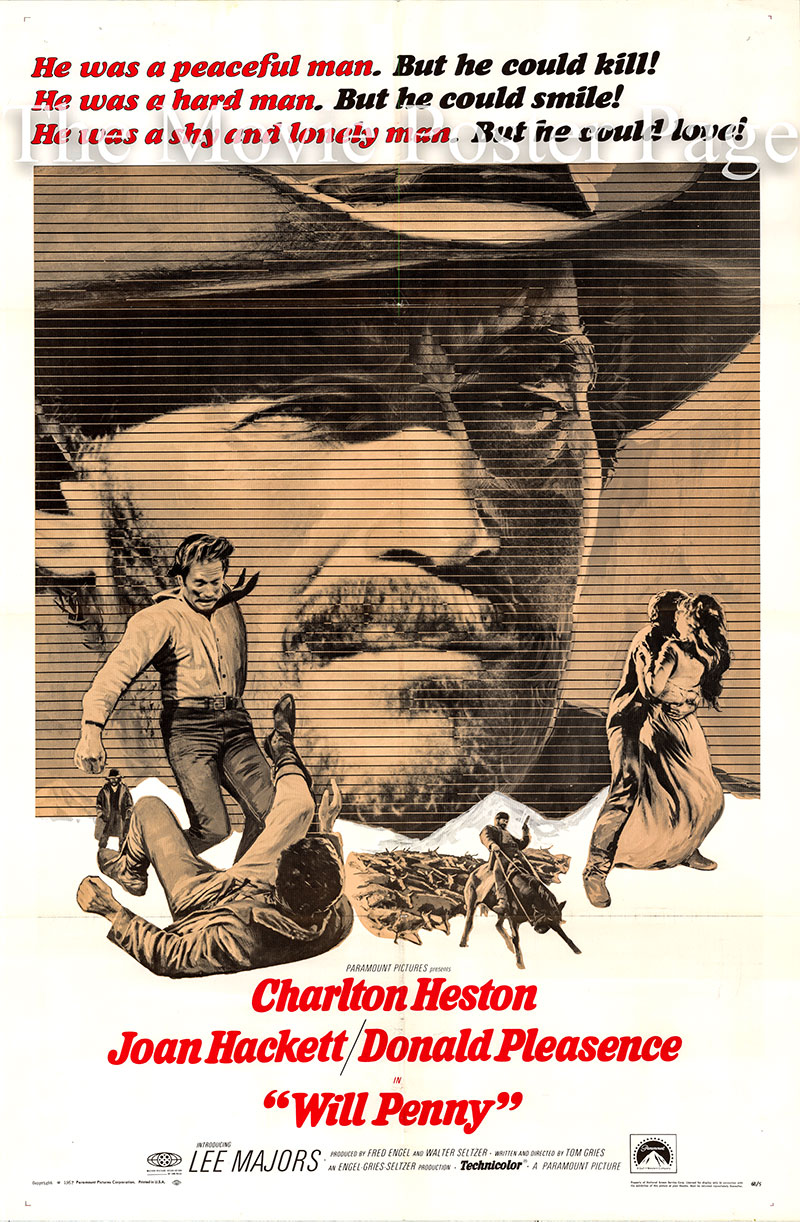 Pictured is a US one-sheet poster for the 1967 Tom Gries film Will Penny starring Charlton Heston as Will Penny.