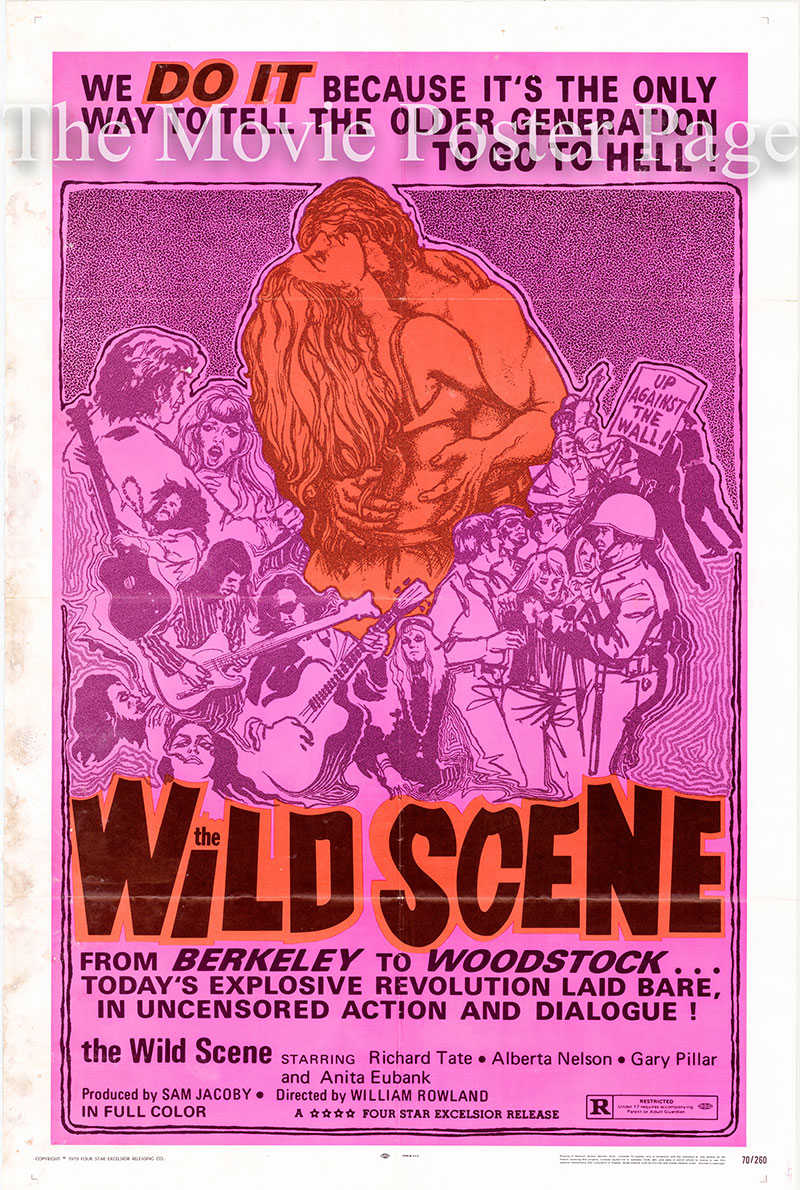 Pictured is a US one-sheet poster for the 1970 William Rowland film The Wild Scene starring Richard Tate as Jack.