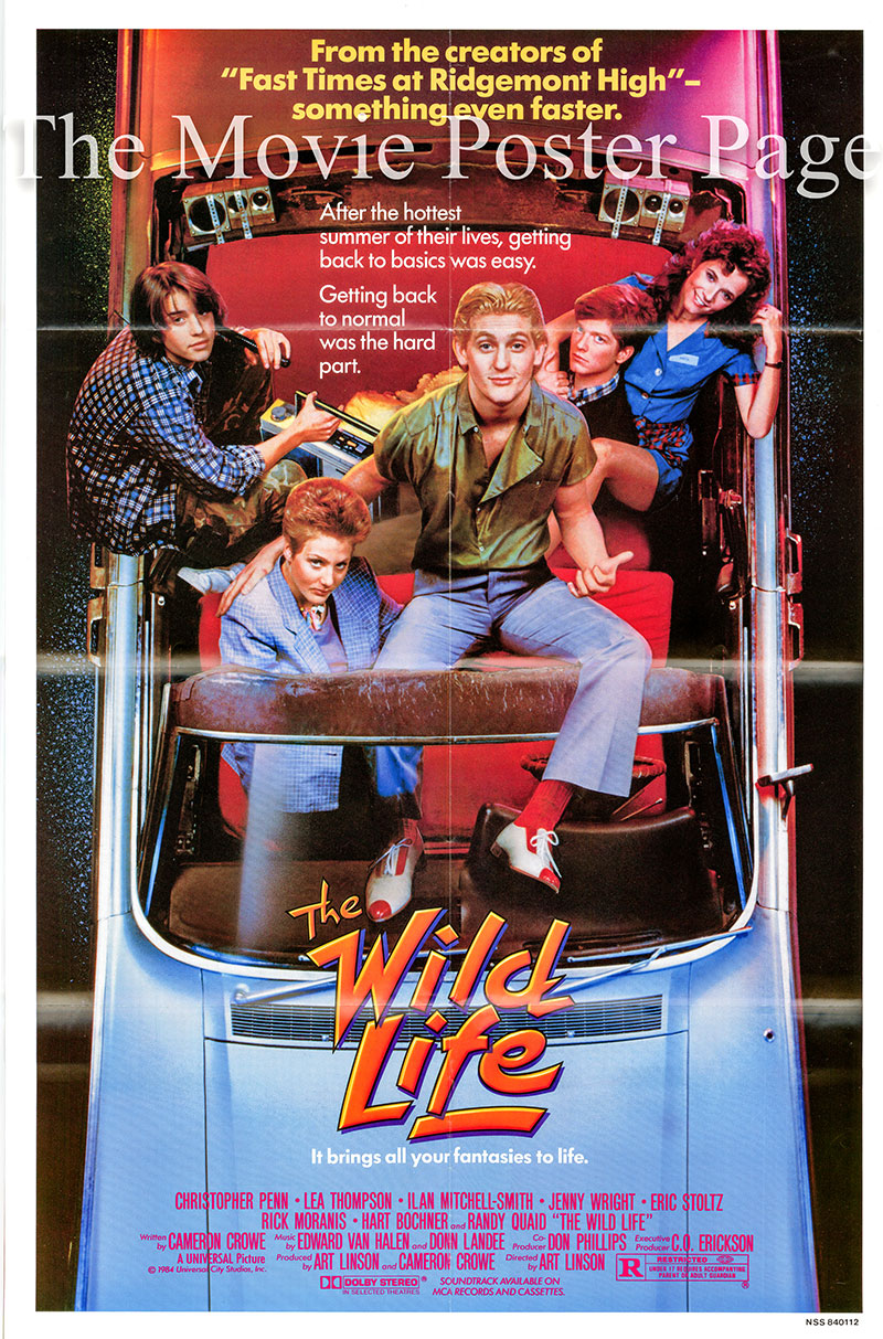 Pictured is a US one-sheet poster for the 1984 Art Linson film The Wild Life starring Christopher Penn as Tom Drake.