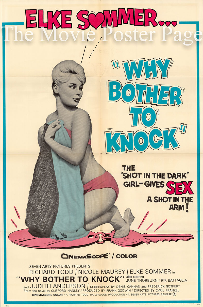 Pictured is a US one-sheet poster for the 1961 Cyril Frankel film Why Bother to Knock starring Elke Sommer.