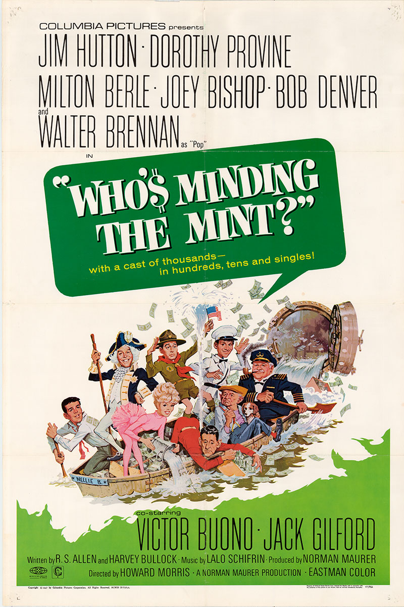 Pictured is a US one-sheet poster for the 1967 Howard Morris film Who's Minding the mint starring Jim Hutton.