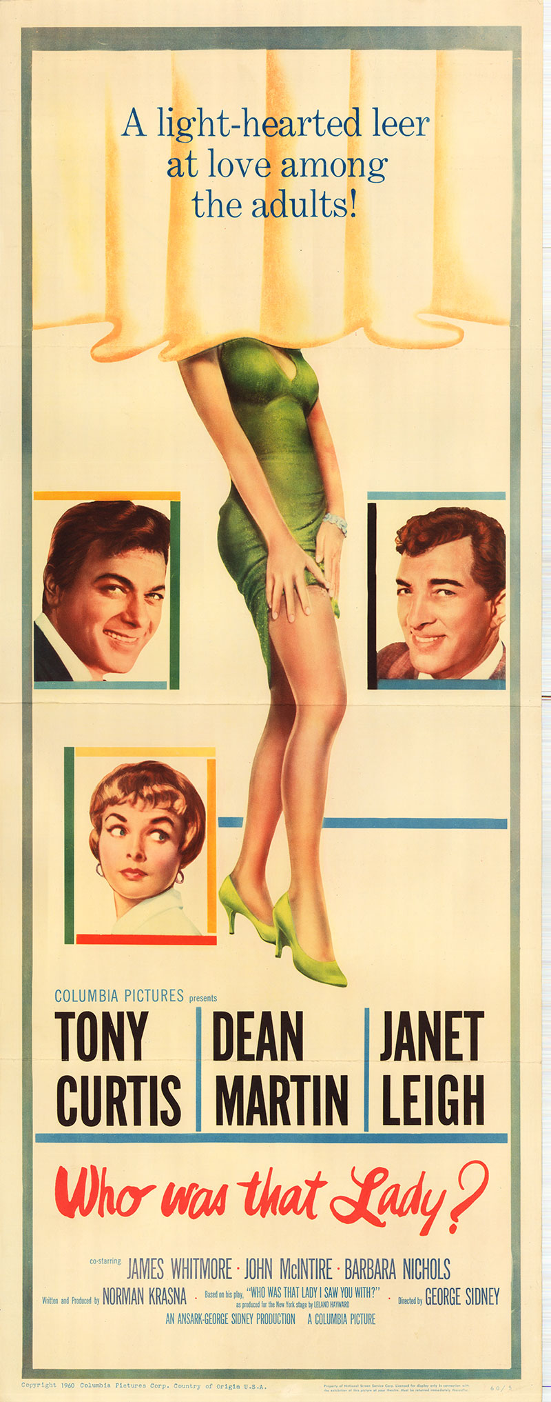Pictured is a US insert poster for the 1960 George Sidney film Who Was that Lady starring Dean Martin as Michael Haney.