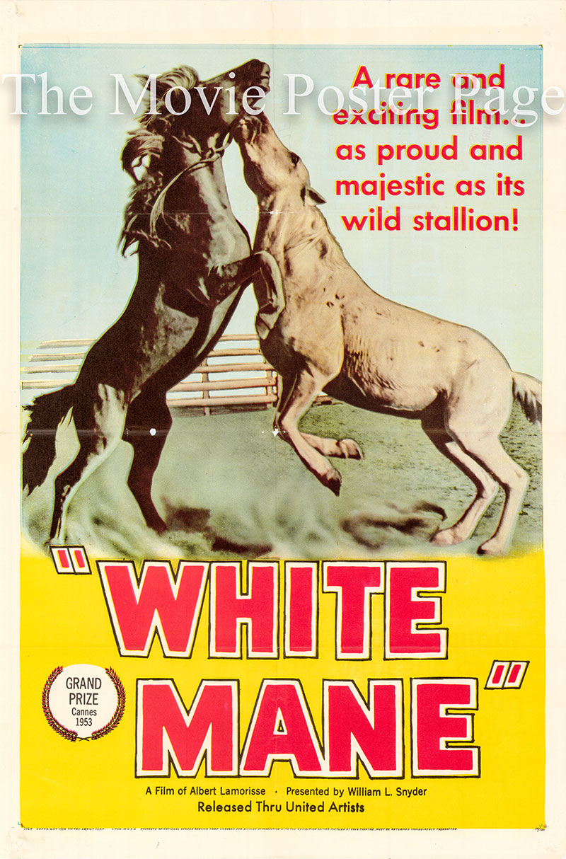 Pictured is a US one-sheet poster for the 1953 Albert Lamorisse film White Mane starring Alain Emory as Folco.