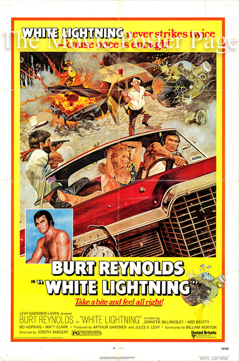 Pictured is a US one-sheet poster for the 1973 Joseph Sargent film White Lightning starring Burt Reynolds as Gator McKlusky.