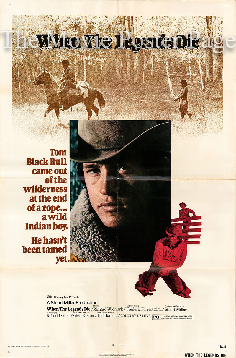 This is a US one-sheet poster for the 1972 Stuart Millar film When the Legends Die starring Richard Widmark as Red Dillon.