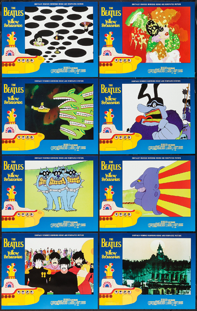 Pictured is a US lobby card set for a 1999 rerelease of the 1968 George Dunning film Yellow Submarine starring the Beatles in animation.