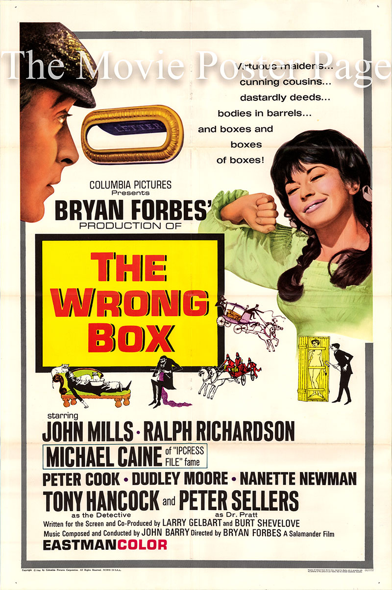 Pictured is a US one-sheet poster for the 1966 Bryan Forbes film The Wrong Box starring Michael Caine.