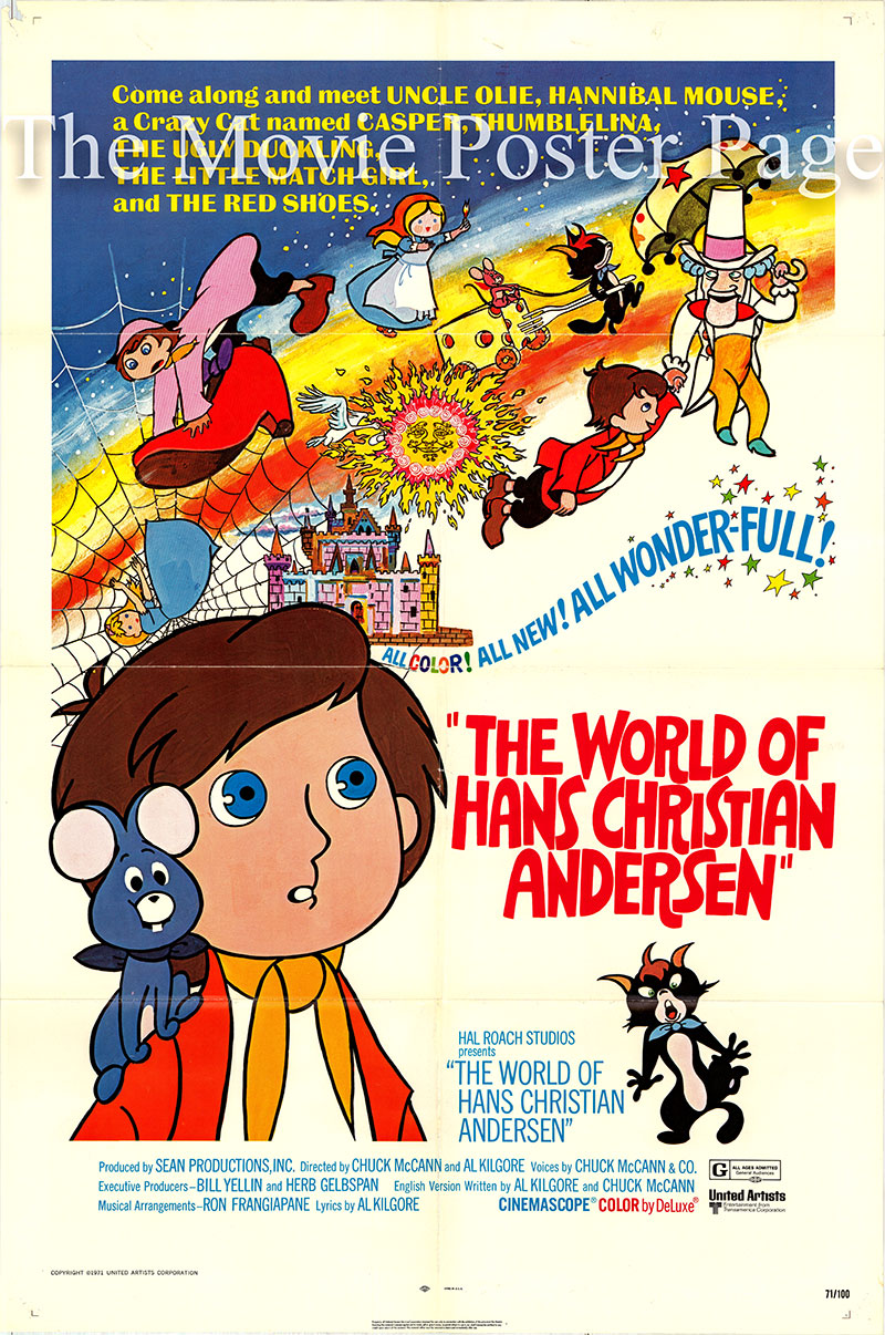 Pictured is a US one-sheet poster for the 1971 Al Kilgore and Chuck McCann film The World of Hans Christian Andersen starring Chuck McCann as the voice of Uncle Oley.