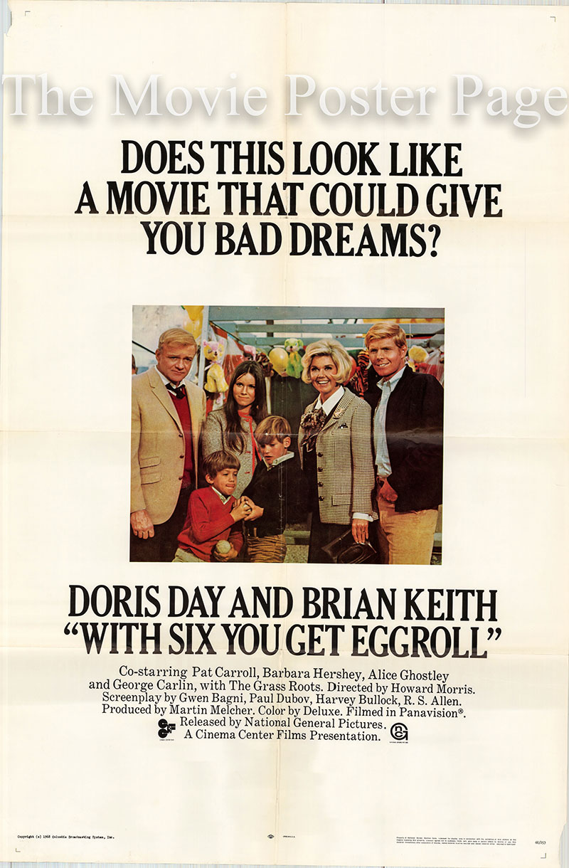Pictured is a US promotional one-sheet poster for the 1968 Howard Morris film With Six You Get Egg Roll starring Doris Day as Abby McClure.