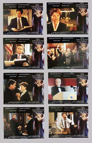 Pictured is a US promotional lobby card set for the 1995 Rob Reiner film The American President starring Michael Douglas and Annette Bening.