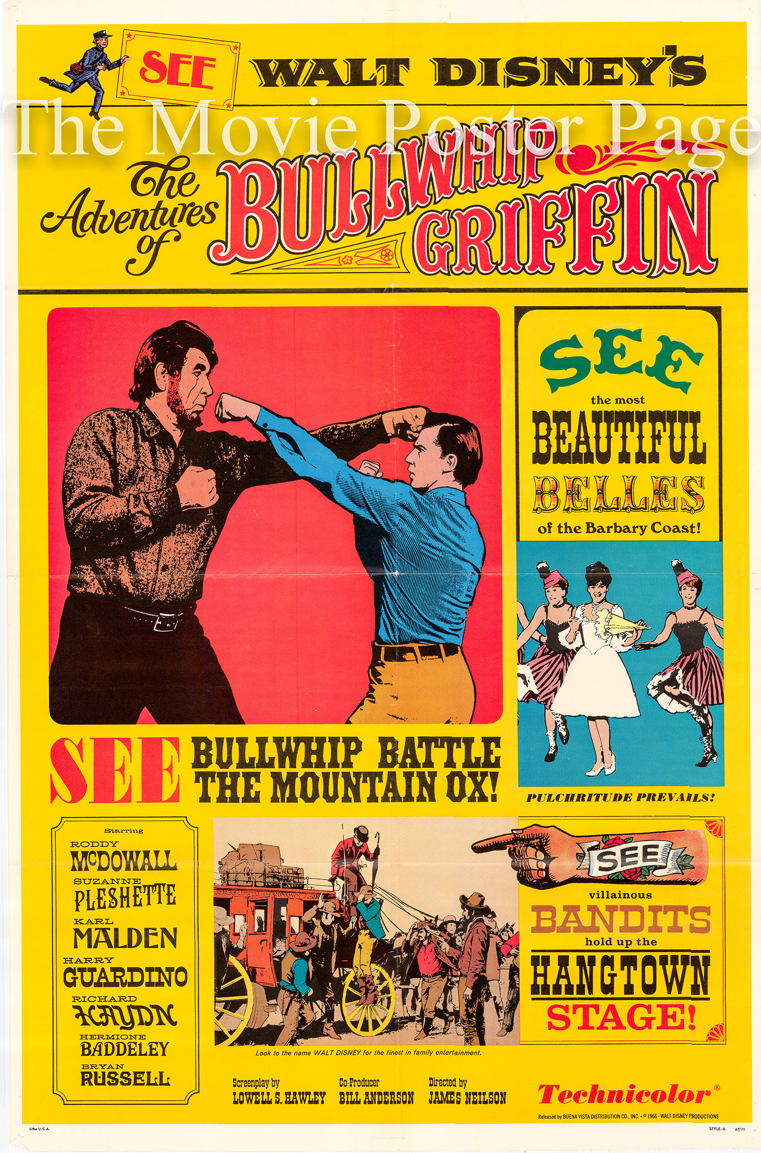 Pictured is a US one-sheet poster for the 1967 James Neilson film The Adventures of Bullwhip Griffin starring Roddy McDowall as Bullwhip Griffin.