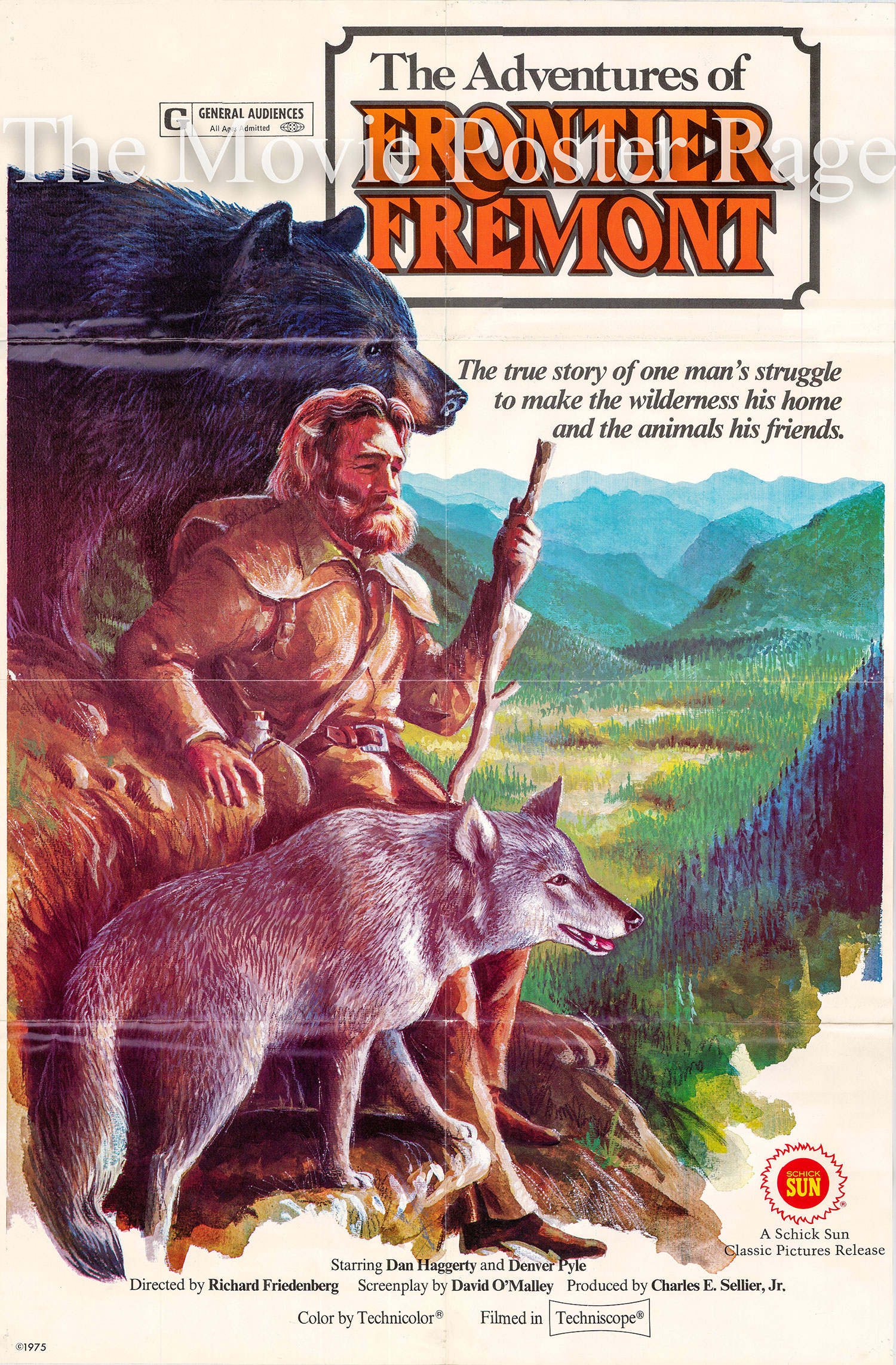 Pictured is a US one-sheet promotional poster for the 1976 Richard Friedenberg film The Adventures of Frontier Fremont starring Dan Haggerty as Frontier Fremont.