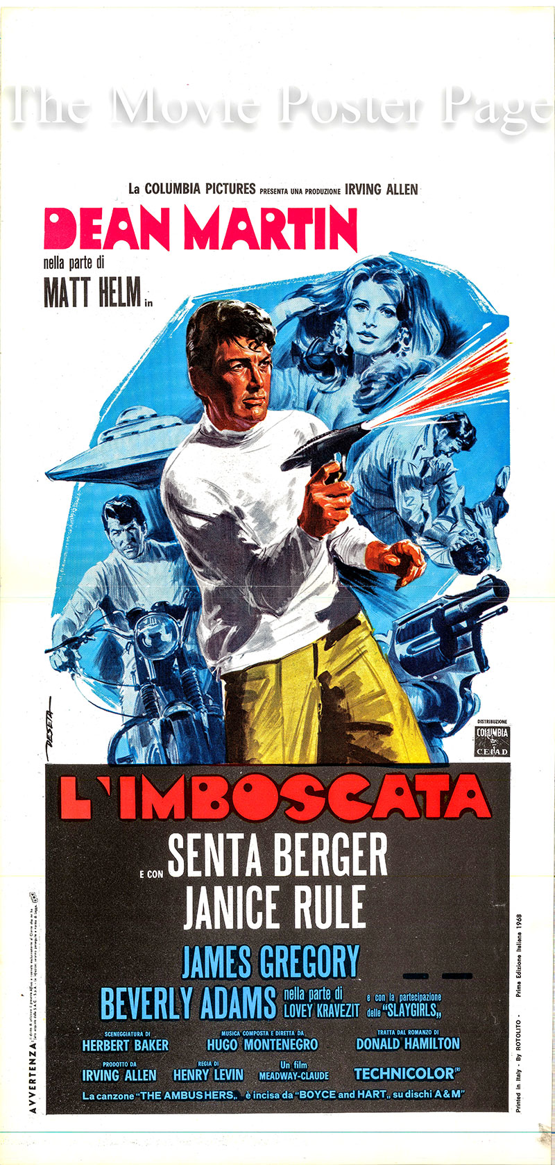 Pictured is an Italian Locandina promotional poster for the 1967 Henry Levin film The Ambushers, starring Dean Martin as agent Matt Helm.
