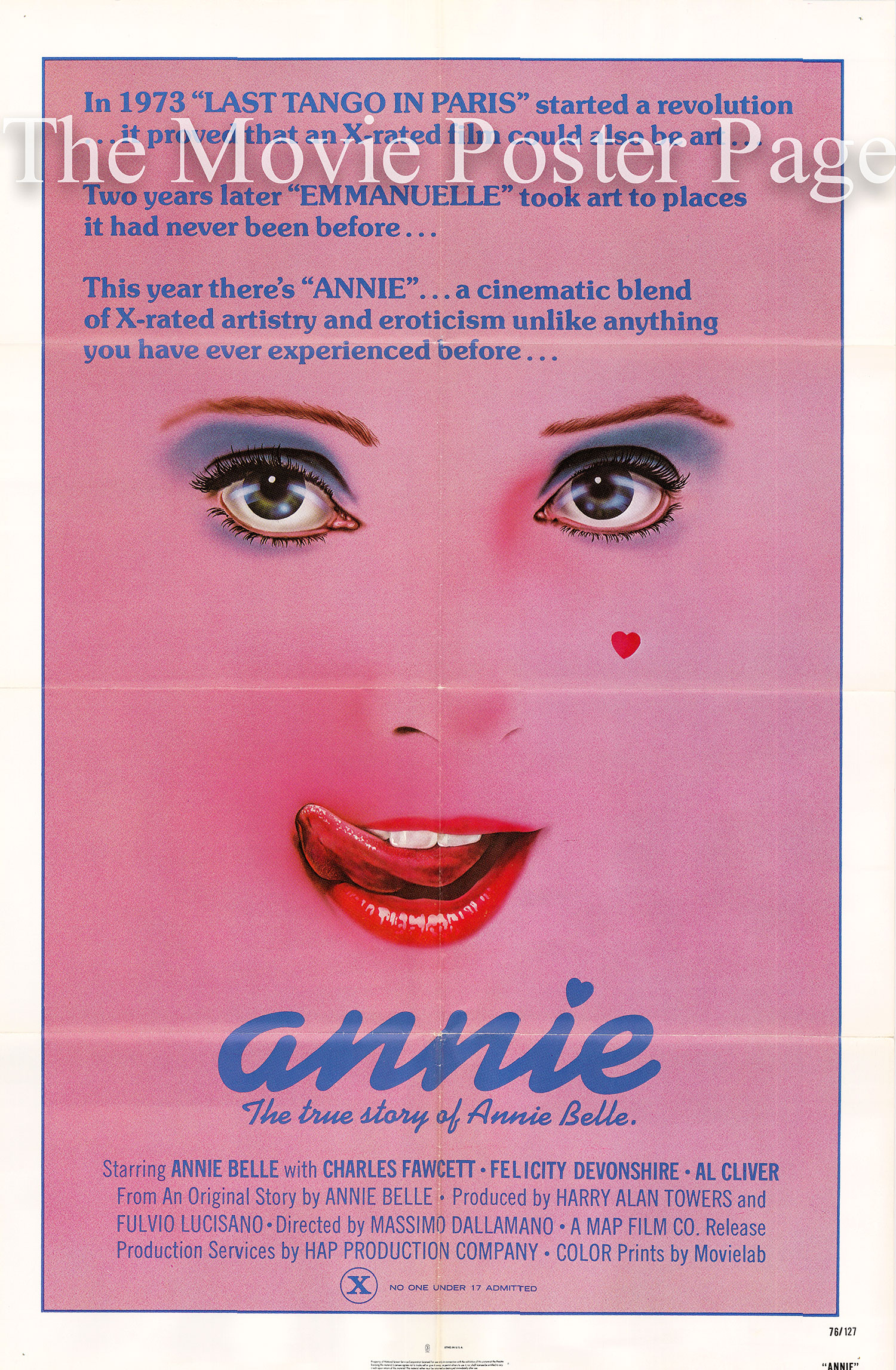 Pictured is a US one-sheet for the 1976 Massimo Dallamano film Annie starring Annie Belle.