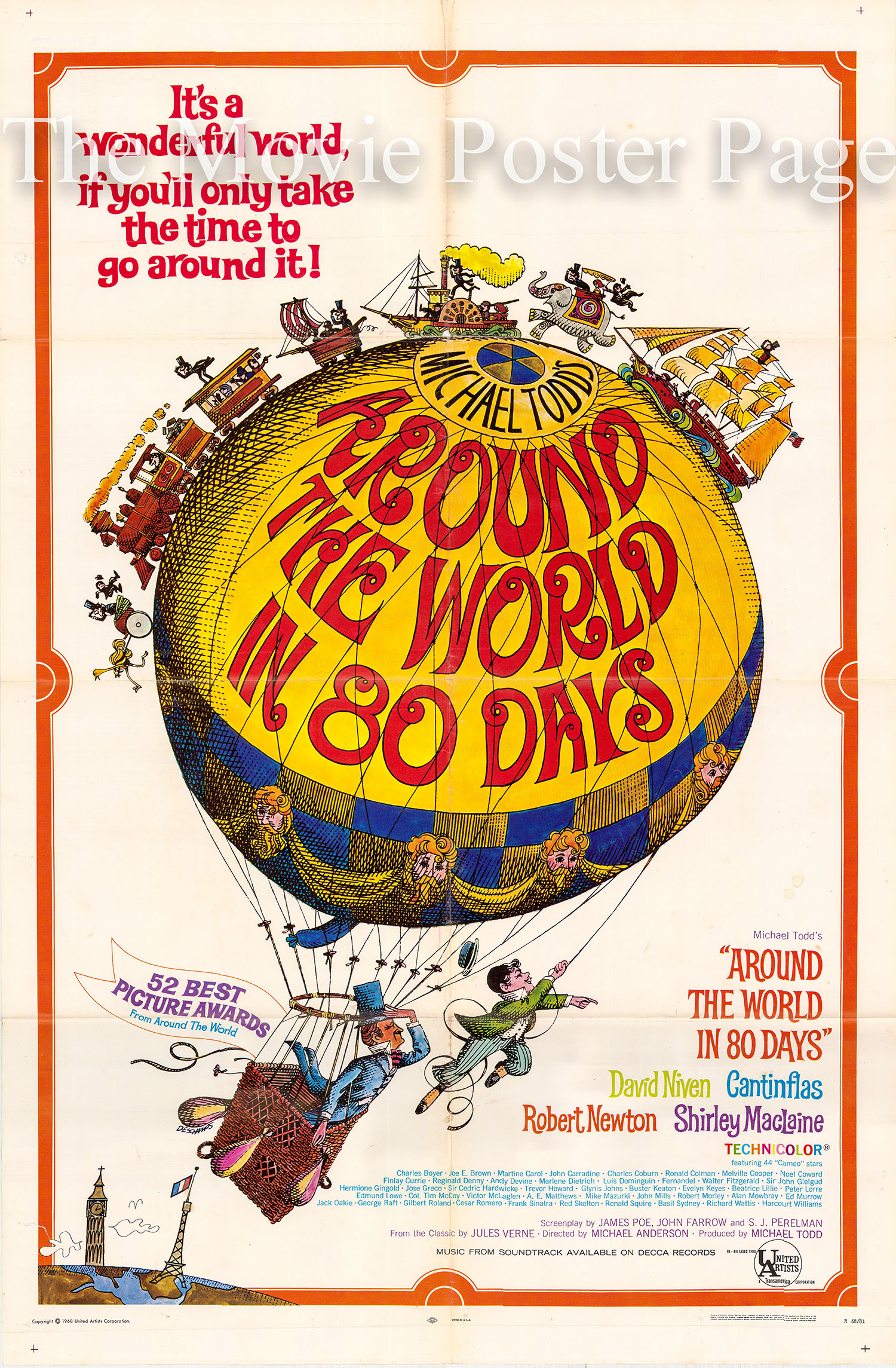 Pictured is a US one-sheet poster for a 1968 rerelease of the 1956 Michael Anderson and John Farrow film Around the World in 80 Days starring David Niven as Phileas Fogg
