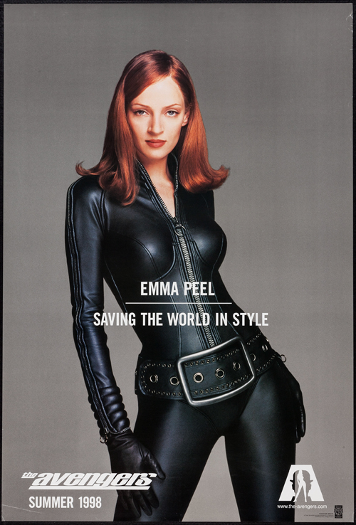 Pictured is a US 'Emma Peel' promotional poster for the 1998 Jeremia S. Chechik film The Avengers, Starring Ralph Fiennes.
