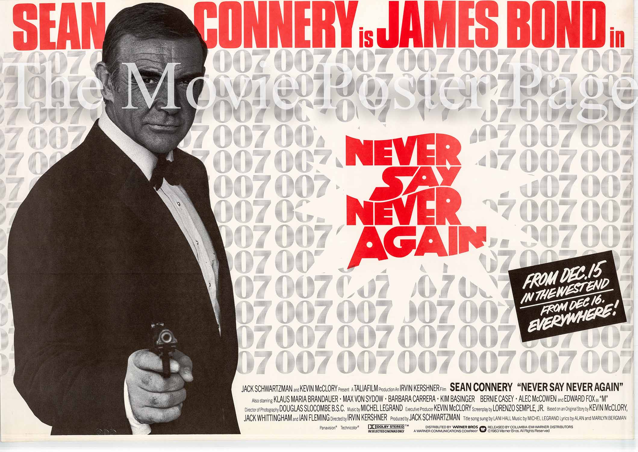 Pictured is a UK promotional quad advance poster for the 1983 Irvin Kershner film Never Say Never Again starring Sean Connery.