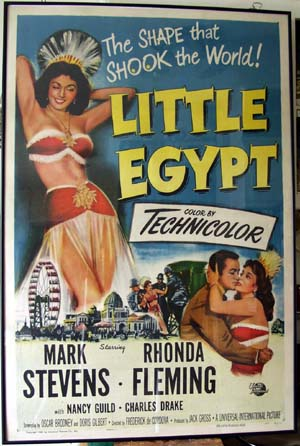 Pictured is a US promotional one-sheet poster for the 1951 Frederick D. Cordova film Little Egypt starring Rhonda Fleming.