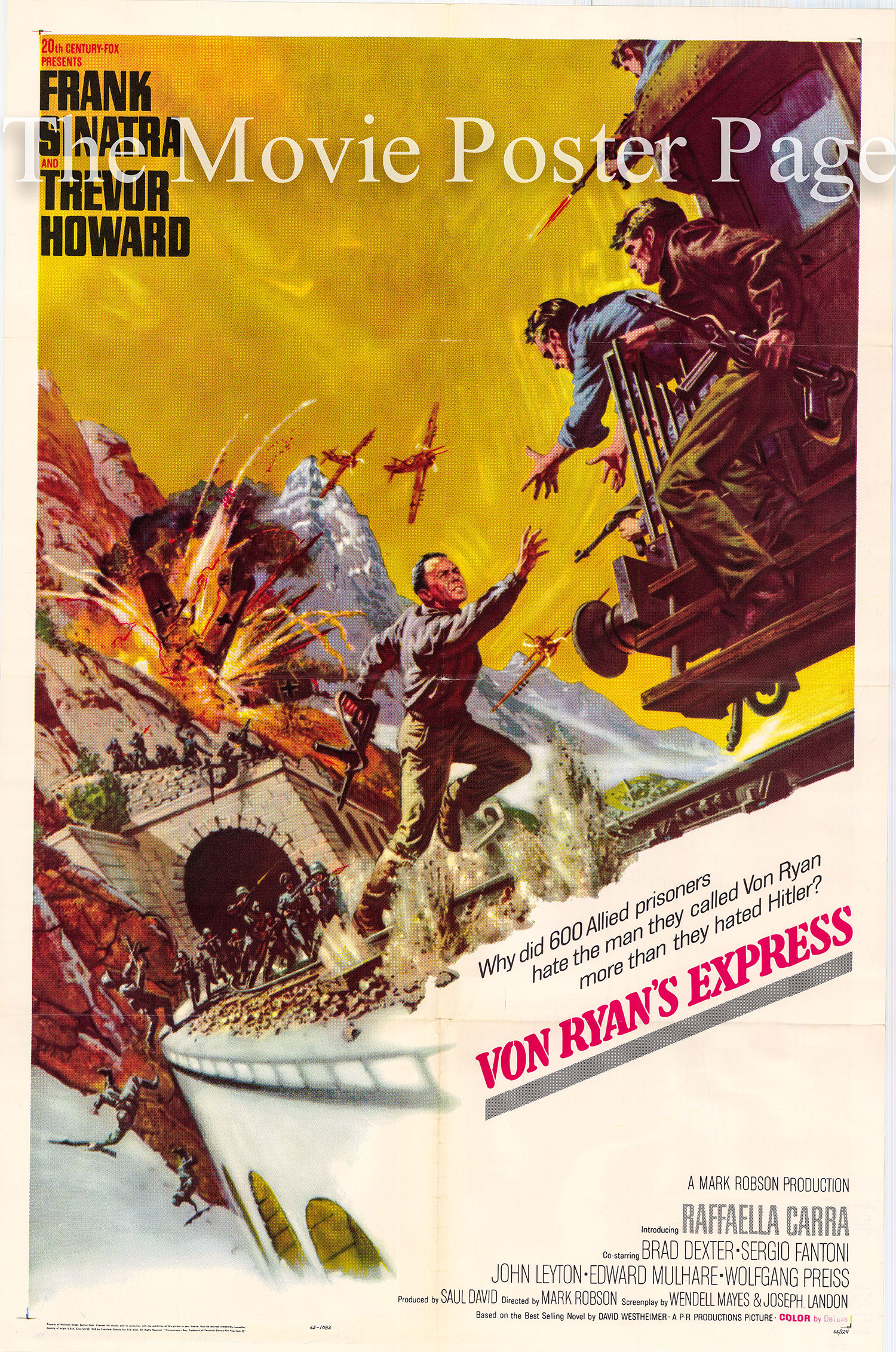 Pictured is a US one-sheet poster for the 1965 Mark Robson film <i>Von Ryan's Express</i> starring Frank Sinatra.