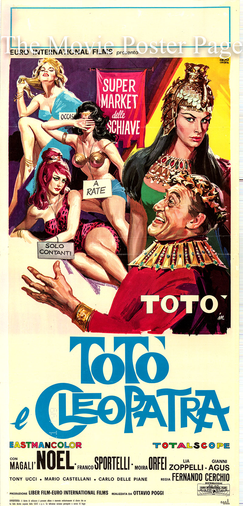Pictured is an Italian locandina poster for the 1963 Fernando Cerchio film Toto and Cleopatra starring Toto as Marc Antnonio.