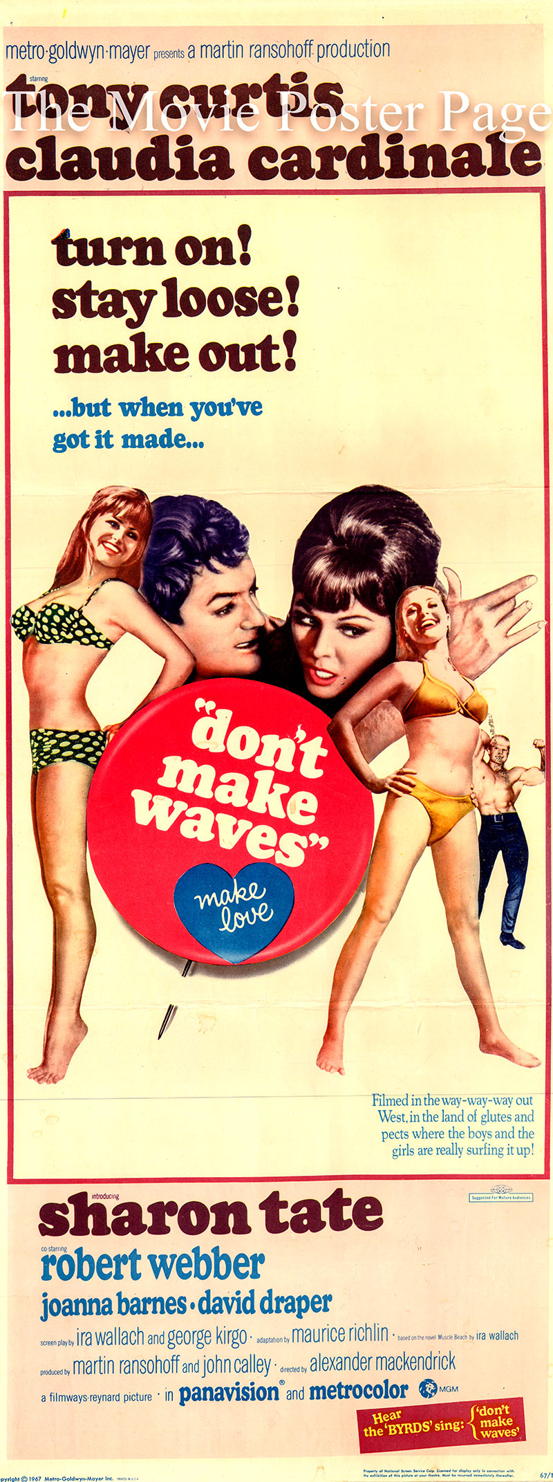 Pictured is a US insert poster for the 1967 Alexander Mackendrick film Don't Make Waves starring Tony Curtis as Carlo Cofield.