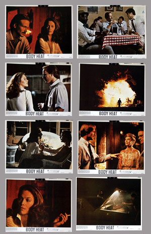 Pictured is a US lobby card set for the 1981 Lawrence Kasdan film Body Heat starring William Hurt.