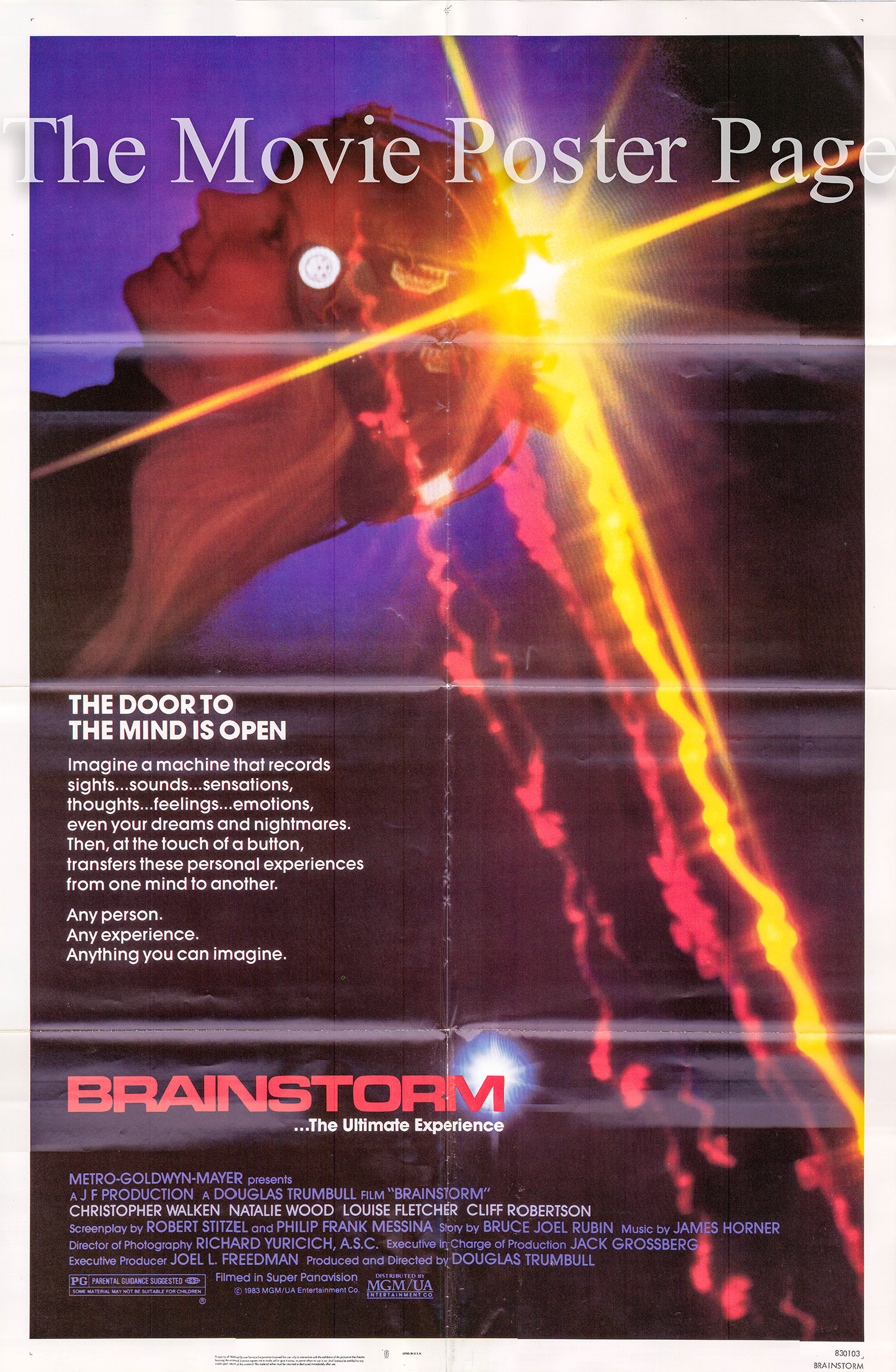 Pictured is a US one-sheet promotional poster for the 1983 Douglas Truumbull film Brainstory starring Christopher Walken as Michael Brace.