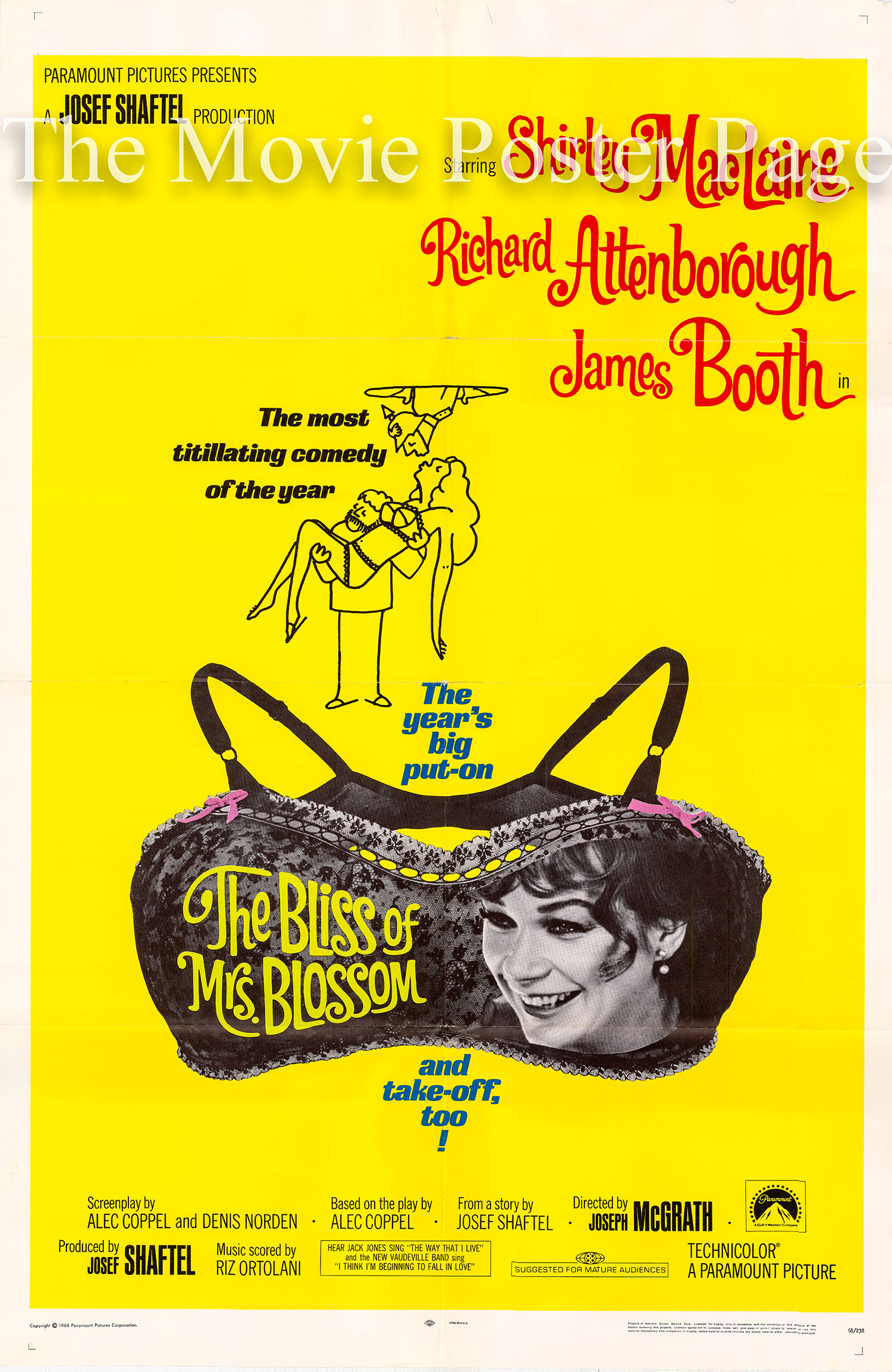 Pictured is a US one-sheet promotional poster for the 1968 Joseph McGrath film The Bliss of Mrs. Blossom starring Shirley MacClaine as Harriet Blossom.