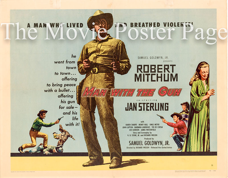 Pictured is a US half-sheet poster for the 1955 Richard Wilson film Man with the Gun starring Robert Mitchum as Clint Tollinger.
