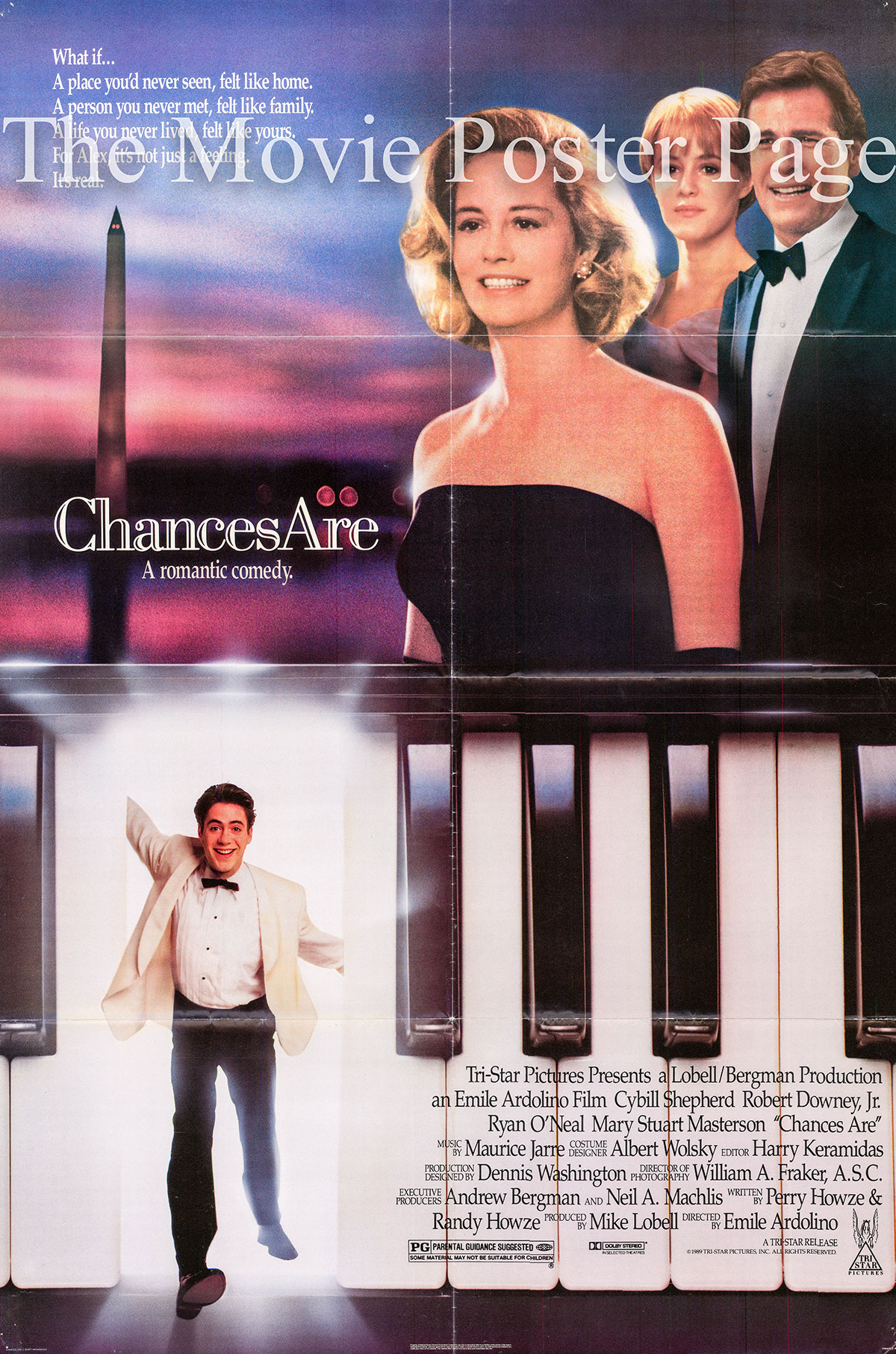 Pictured is a US one-sheet poster for the 1989 Emile Ardolino film Chances Are starring Robert Downey Jr.