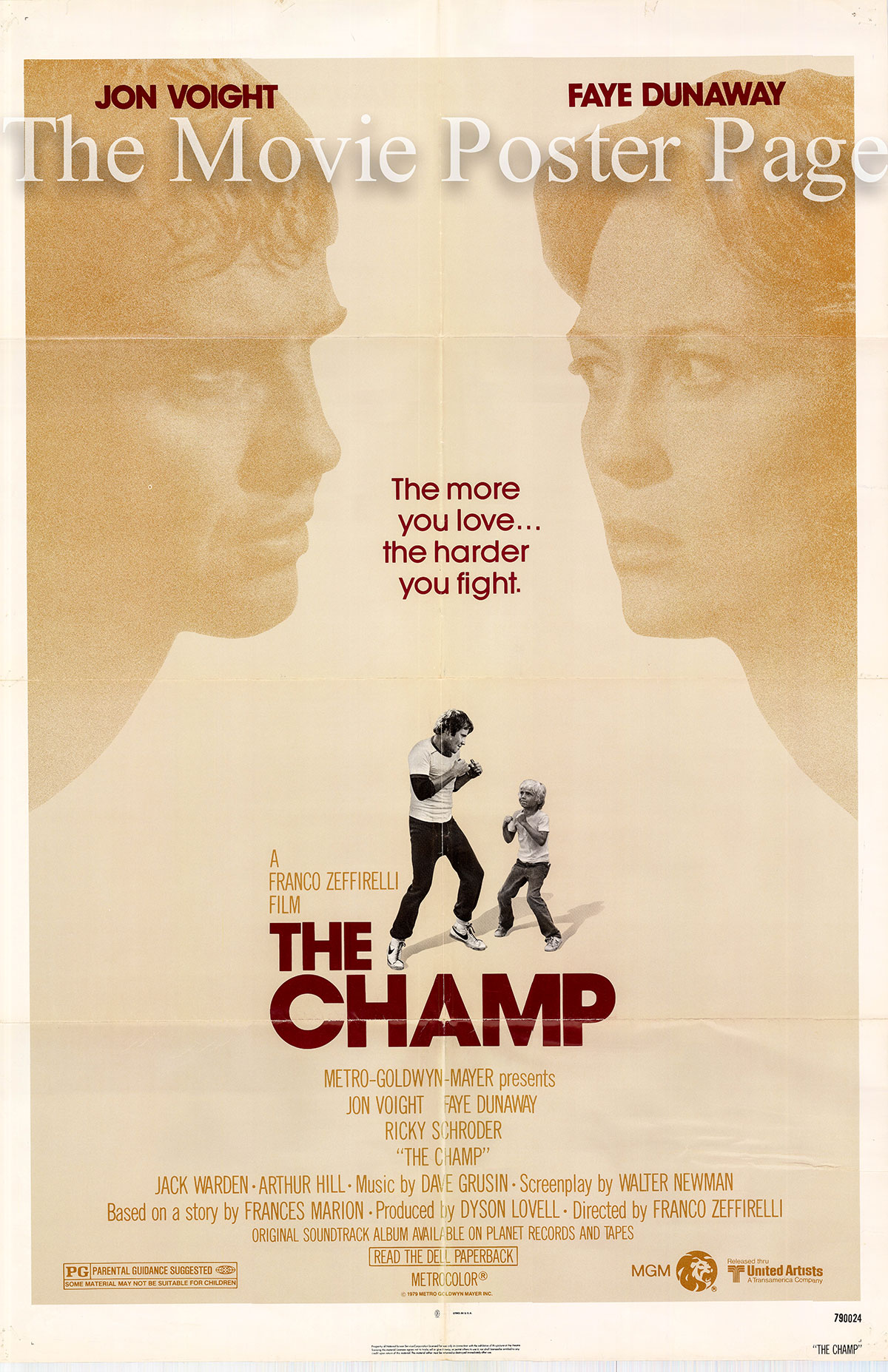 Pictured is a US promotional one-sheet for the 1979 Franco Zefirelli film The Champ starring Jon Voight.