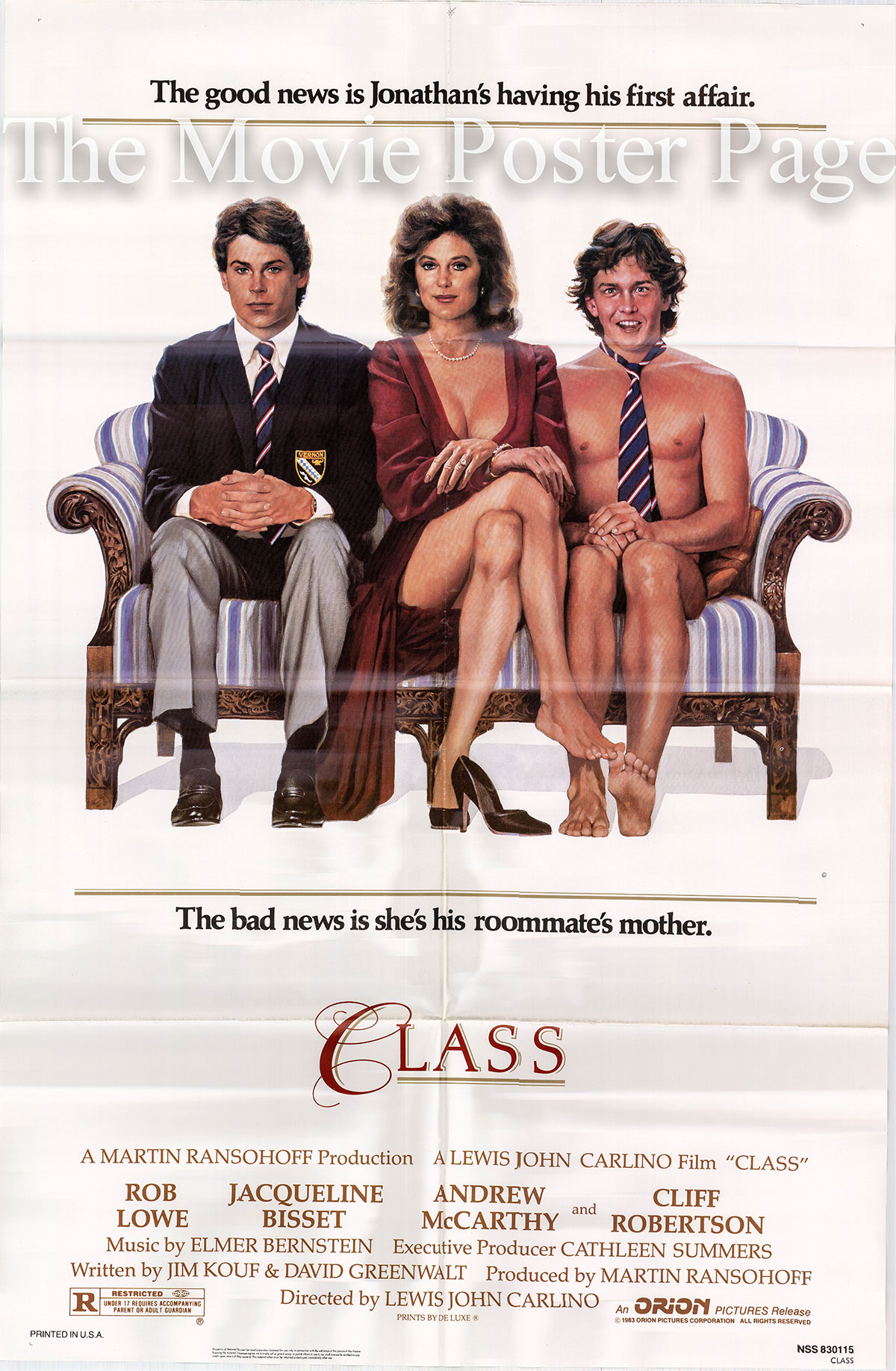 Pictured is a US one-sheet promotional poster for the 1983 Lewis John Carlino film Class starring Jacqueline Bisset.