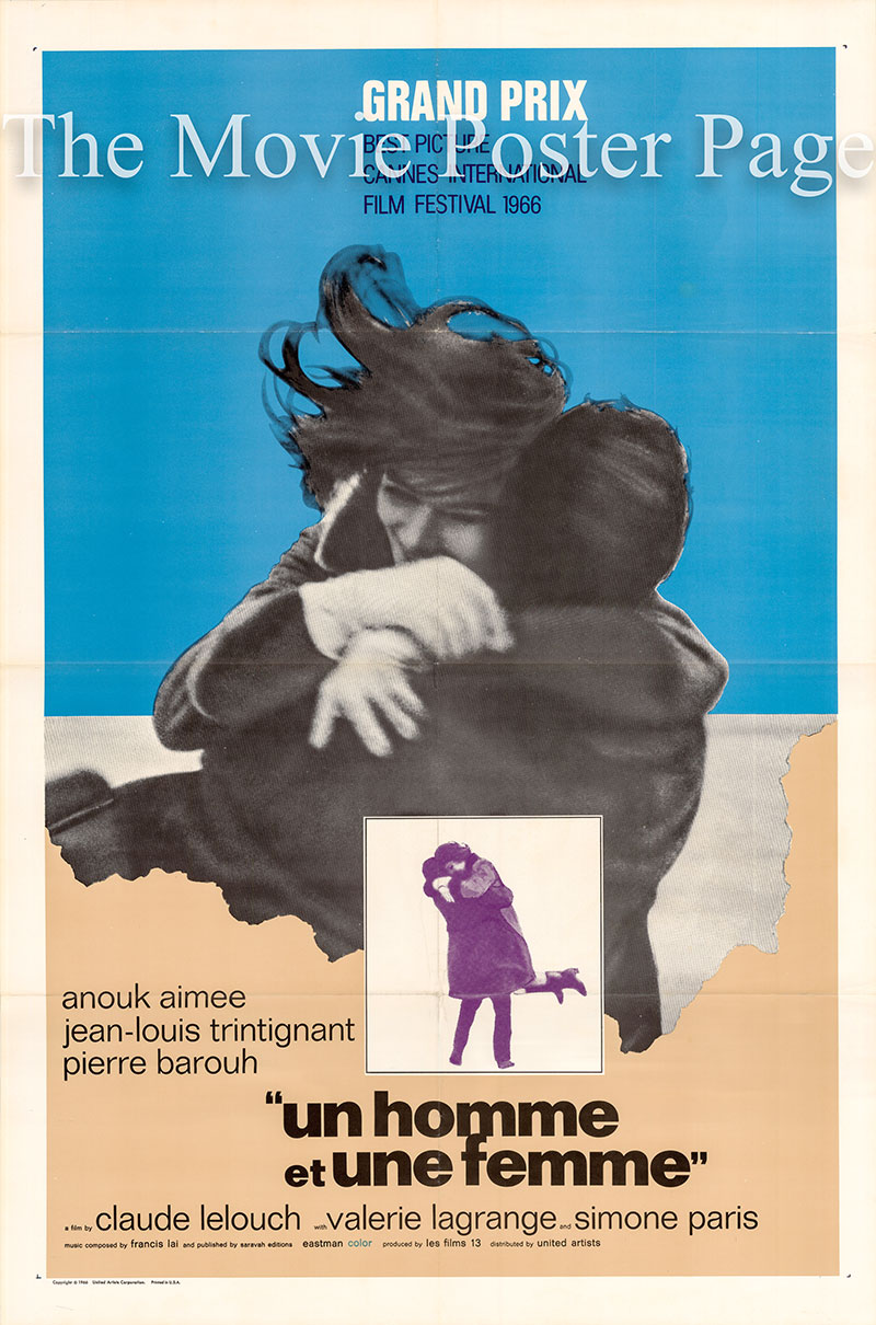 Pictured is a US one-sheet poster for the 1966 Claude Lelouch film A Man and a Woman starring Anouk Aimee.