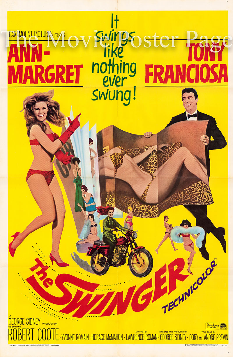 Pictured is a US one-sheet poster for the 1966 George Sidney film The Swinger starring Ann-Margret as Kelly Olsson.