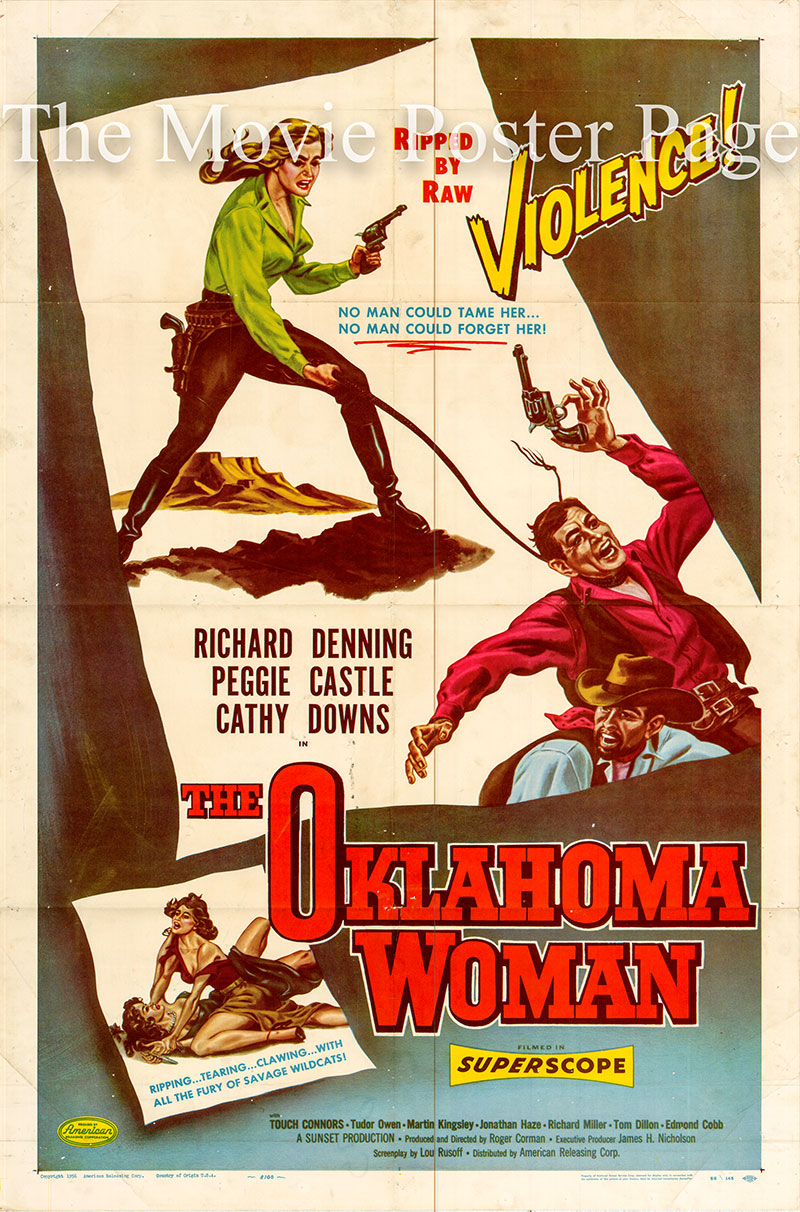 Pictured is a US one-sheet for the 1956 Roger Corman film The Oklahoma Woman starring Peggie Castle.