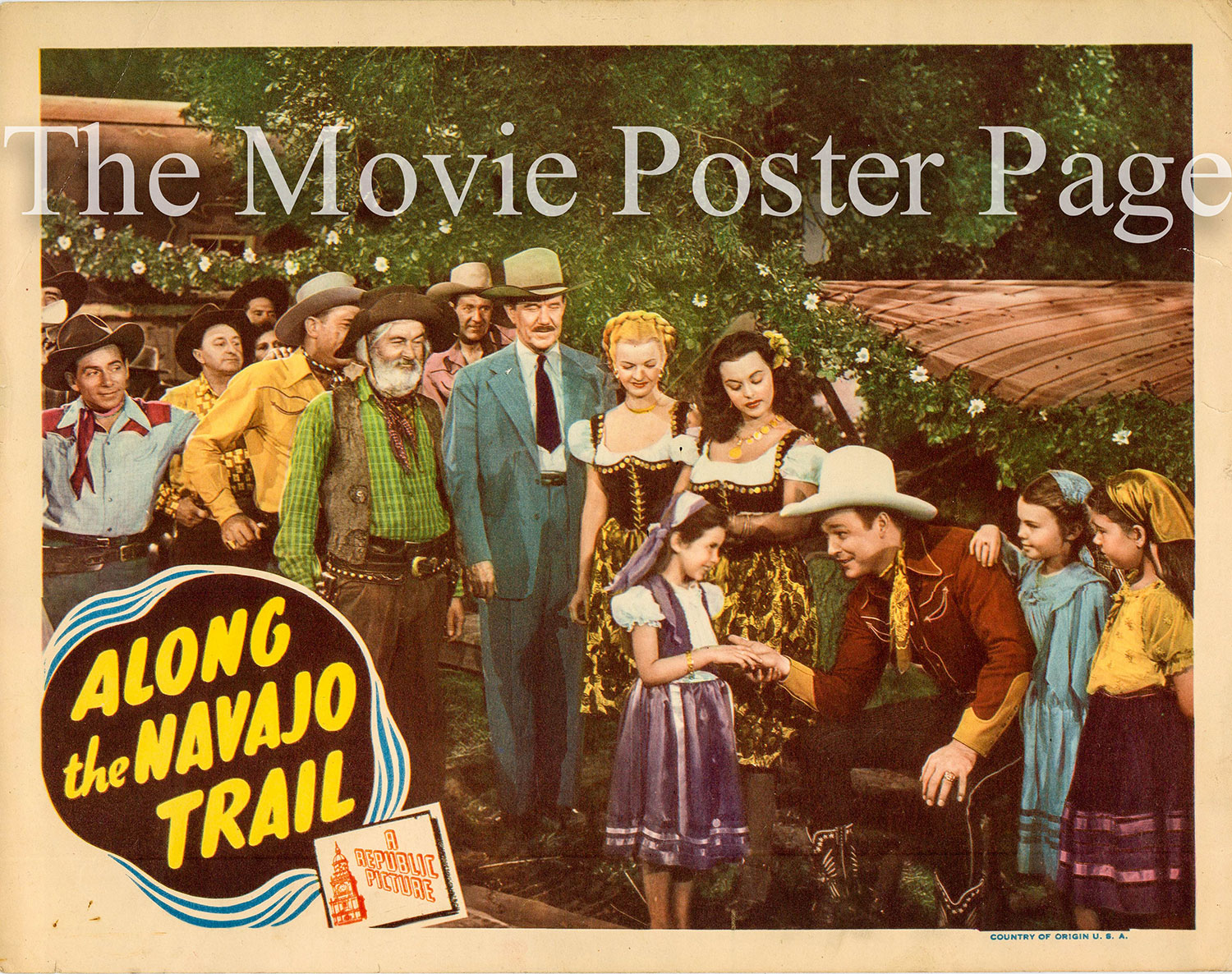 Pictured is a Republic lobby card for the 1945 Frank McDonald film Along the Navajo Trail starring Roy Rogers.