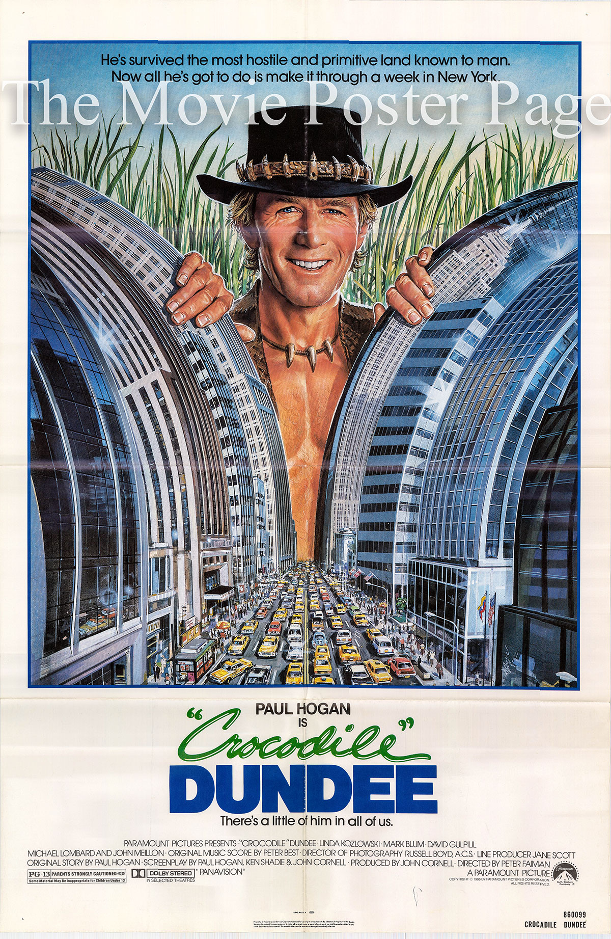 Pictured is a US promotional poster for the 1986 Peter Faiman film Crocodile Dundee starring Paul Hogan as Michael J. Dundee.