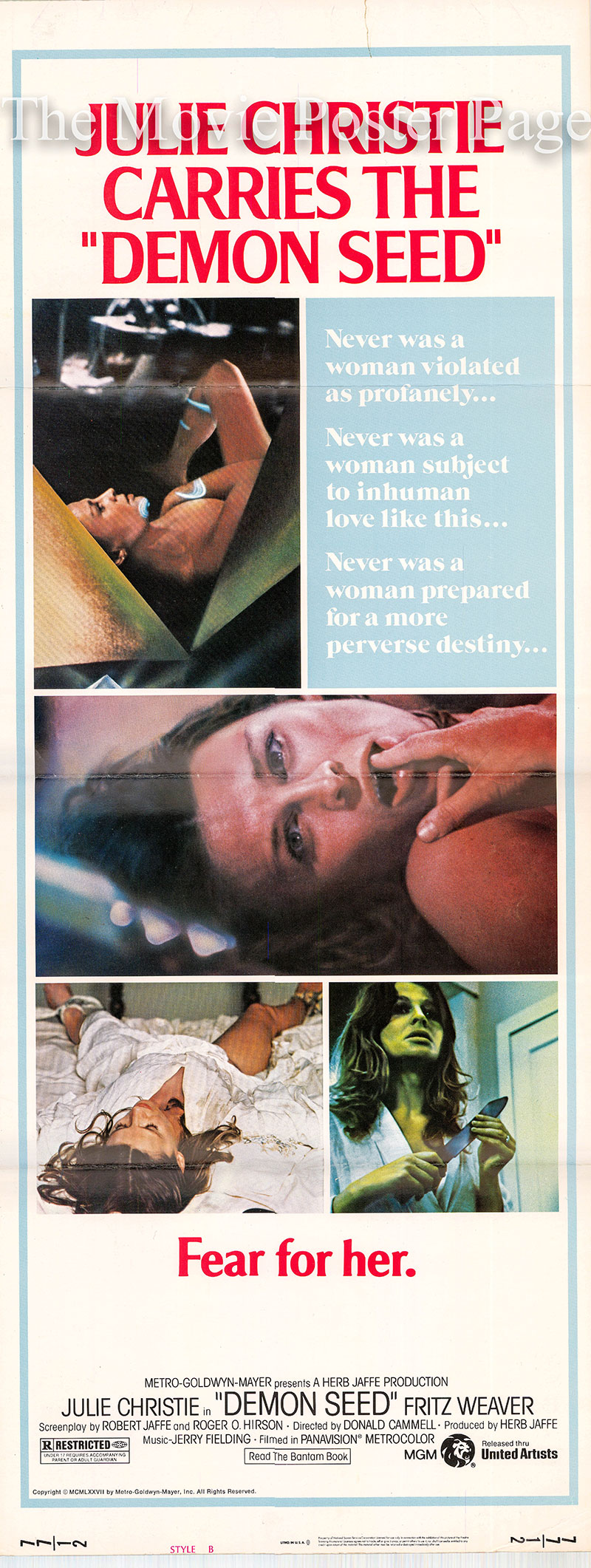 Pictured is a US insert poster for the 1977 Donald Cammell film Demon Seed starring Julie Christie as Susan Harris.