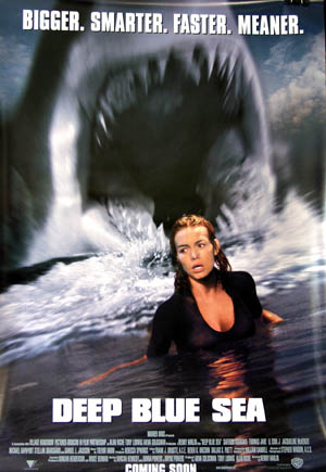 Pictured is a US promotional one-sheet poster for the 1999 Renny Harlin film Deep Blue Sea, starring Thomas Jane.