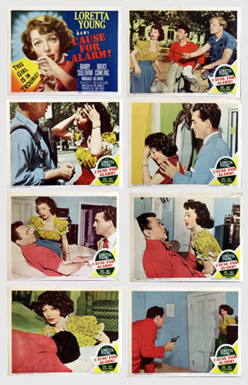 Pictured is a US lobby card set for the 1950 Tay Garnett film Cause for Alarm starring Loretta Young.