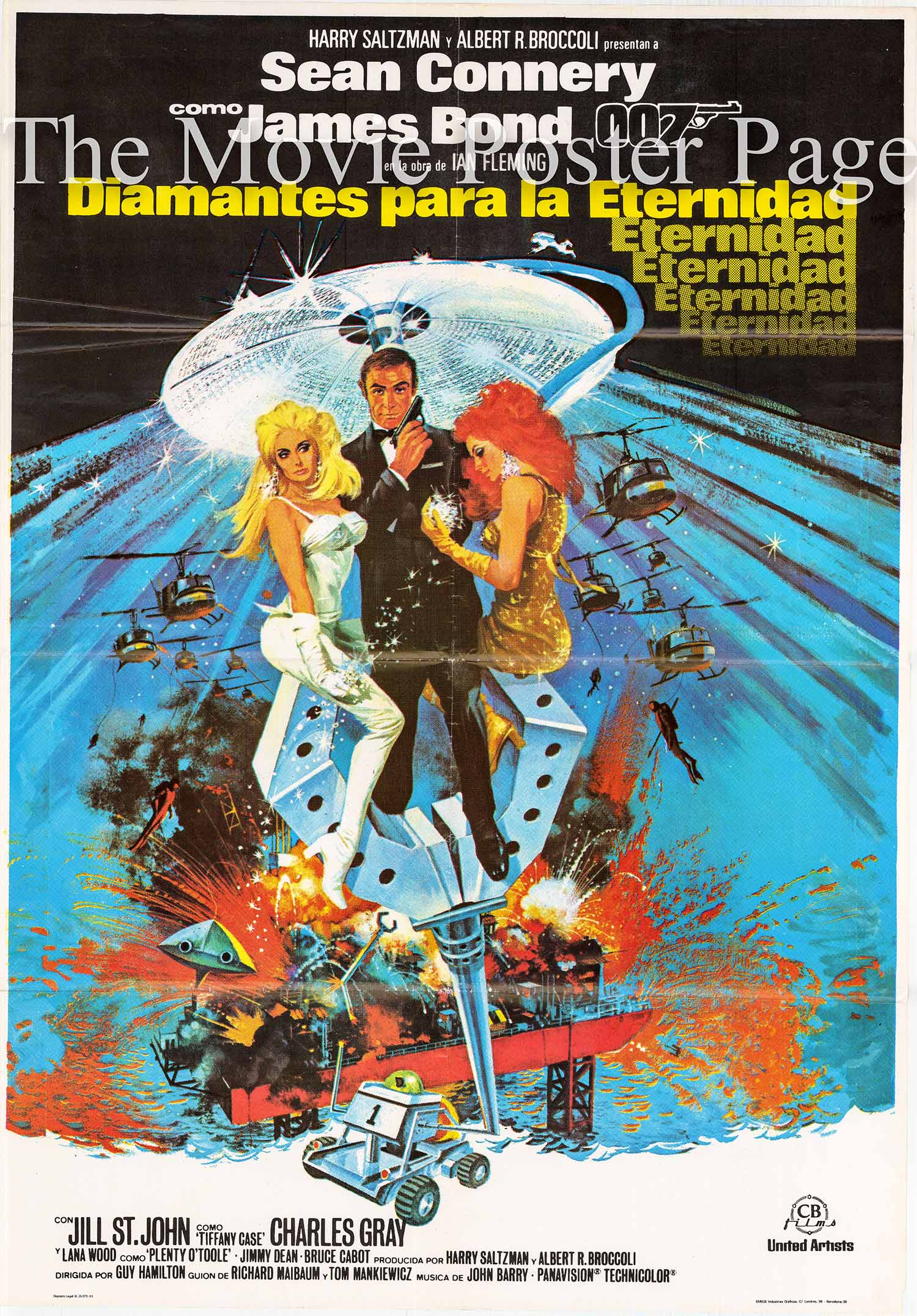 Pictured is a Spanish promotional poster for the 1971 Guy Hamilton film Diamonds are Forever starring Sean Connery as James Bond.