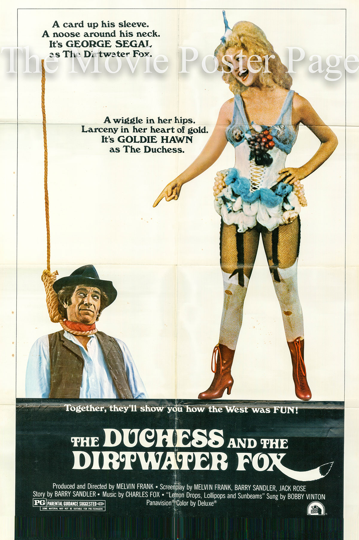 Pictured is a US one-sheet promotional poster for the 1976 Melvin Frank film The Duchess and the Dirtwater Fox starring George Segal as George Malloy.