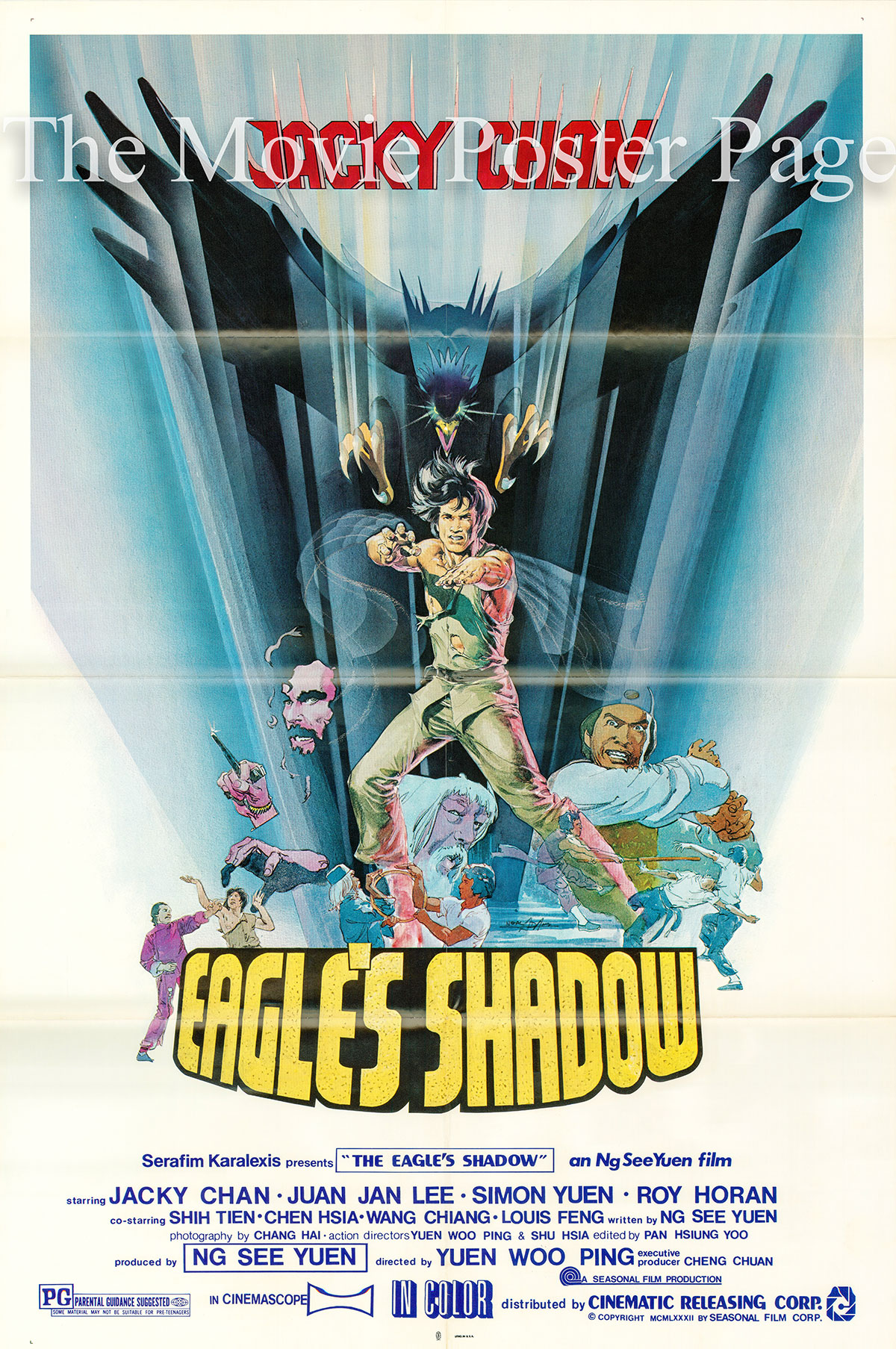 Pictured is a US one-sheet promotional poster for a 1982 rerelease of the 1978 Woo-Ping Yuen film Eagles Shadow starring Jackie Chan as Chien Fu.