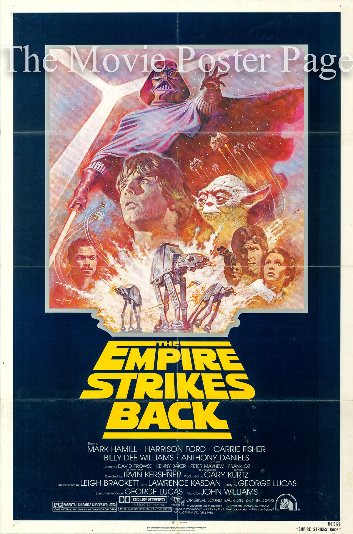 Pictured is a 1981 US rerelease poster for the 1980 Irwin Kershner film The Empire Strikes Back starring Mark Hamill as Luke Skywalker.