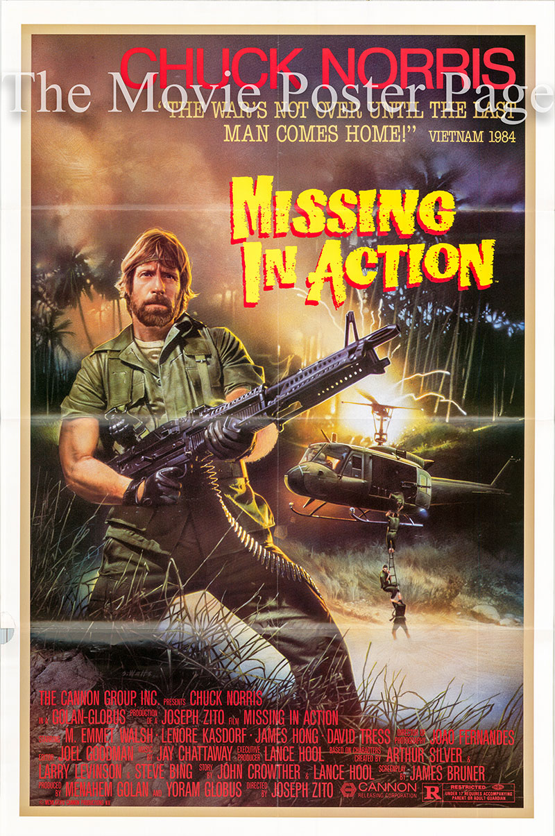 Pictured is US one-sheet poster for the 1984 Joseph Zito film Missing in Action starring Chuck Norris as Colonel James Braddock.