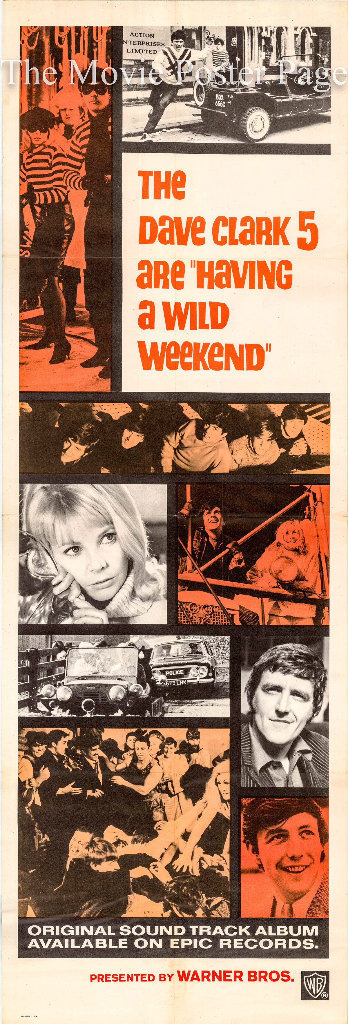 Pictured is a US door panel poster for the 1965 John Boorman film Having a Wild Weekend starring the Dave Clark Five.