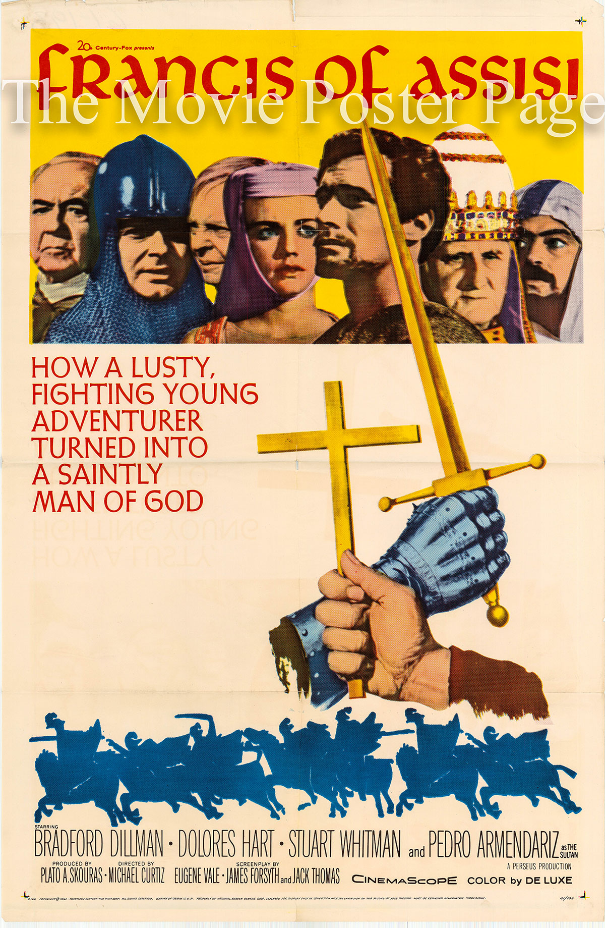 Pictured is a US one-sheet poster for the 1961 Michael Curtiz film Francis of Assisi starring Bradford Dillman as Francis Bernadone of Assisi.