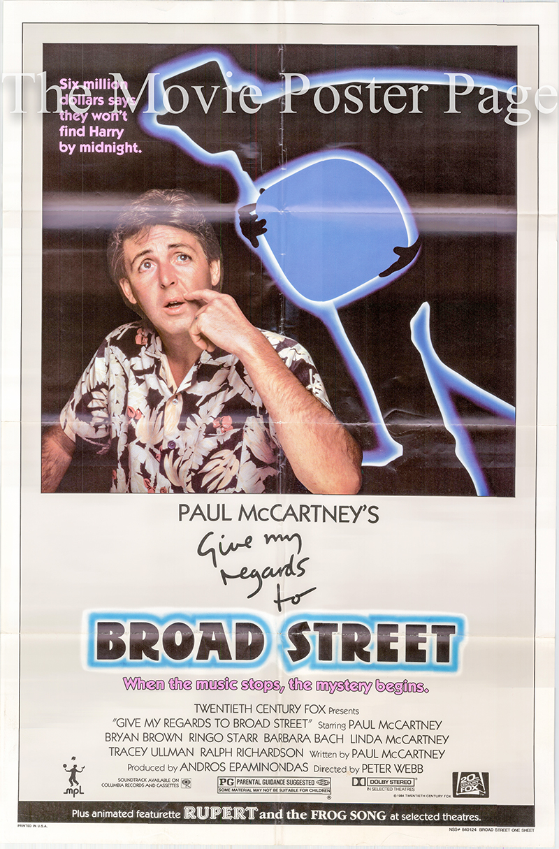 Pictured is a US one-sheet poster for the 1984 Peter Webb film Give My Regards to Broad Street starring Paul McCartney.