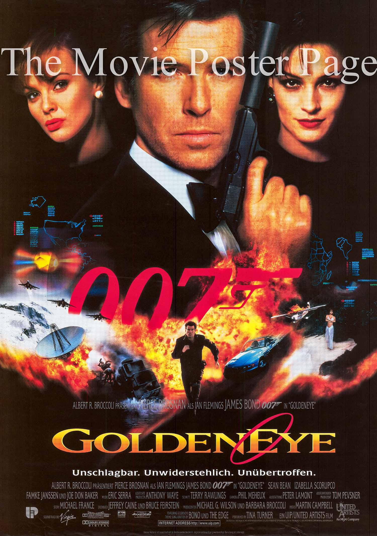 Pictured is a German promotional poster for the 1995 Martin Campbell film Goldeneye starring Pierce Brosnan as James Bond.