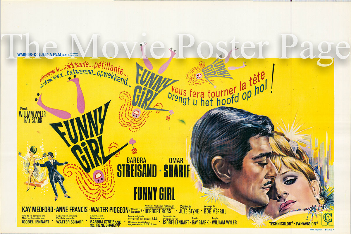 Pictured is a Belgian poster for the 1968 William Wyler film Funny Girl starring Barbra Streisand as Fanny Brice.